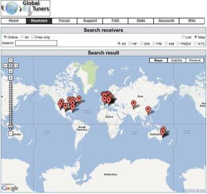 Global Tuners - Mapa de Receptores Disponibles
