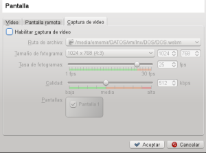 Ajustes de captura de Video