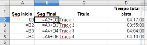 PProcesando el Tracklist en Calc